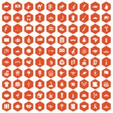 100 landmarks icons hexagon orange. 100 landmarks icons set in orange hexagon isolated vector illustration Vector Illustration