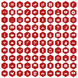 100 landmarks icons hexagon red. 100 landmarks icons set in red hexagon isolated vector illustration Stock Photos