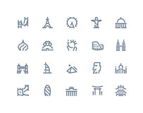 Landmarks icons. Line series Royalty Free Stock Images