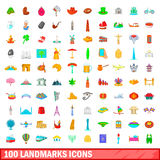 100 landmarks icons set, cartoon style Stock Images