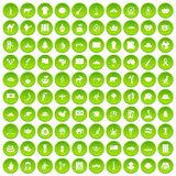 100 landmarks icons set green. 100 landmarks icons set in green circle isolated on white vectr illustration Royalty Free Stock Photography