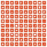 100 landmarks icons set grunge orange. 100 landmarks icons set in grunge style orange color isolated on white background vector illustration Royalty Free Illustration