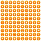 100 landmarks icons set orange. 100 landmarks icons set in orange circle isolated on white vector illustration Royalty Free Illustration