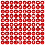 100 landmarks icons set red. 100 landmarks icons set in red circle isolated on white vector illustration Stock Photos