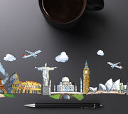 Landmarks illustration with cup of coffee and pen. Close up Royalty Free Stock Images