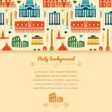 Landmarks of Italy background with space for text Royalty Free Stock Photos