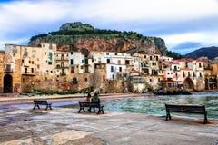 Landmarks of Italy - beautiful coastal town Cefalu in Sicily Royalty Free Stock Photo