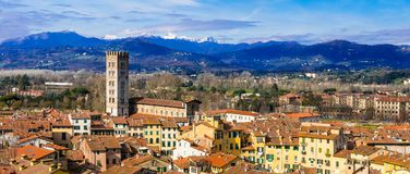 Landmarks of Italy - beautiful medieval town Lucca in Tuscany. C Royalty Free Stock Images