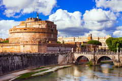 Landmarks of Italy - Castle Sant Angelo in Rome Royalty Free Stock Image