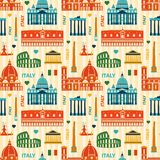 Landmarks of Italy seamless pattern Royalty Free Stock Images
