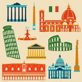Landmarks of Italy set Stock Photo