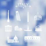Landmarks of Italy set Royalty Free Stock Images