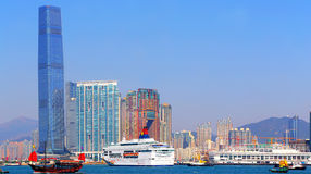 Landmarks of kowloon, hong kong. Landmarks of kowloon such as the ritz-carlton, the five-star hotel and elements shopping mall as viewed from hong kong island Stock Photography