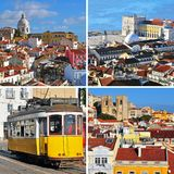 Landmarks of Lisbon, Portugal. Travel collage Stock Photos