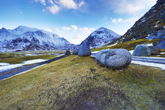 Landmarks of Lofoten islands. Beautiful Norway landscape. Stock Image