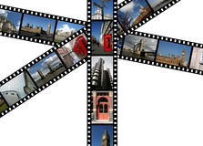 Landmarks in London. Illustration - film strips with travel photos. London in England, United Kingdom. All photos taken by me Stock Photo