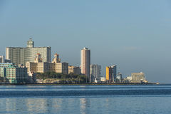 Landmarks at Malecon Havana. Landmarks at Malecon. Iconic Hotel Nacional de Cuba with the two towers and to the right the US Emabassy. Havana, Cuba Stock Photos