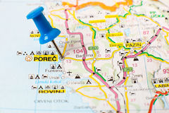 Landmarks on map of Croatia: Porech Stock Image