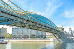 The landmarks of Moskva river. Bohdan Khmelnytsky bridge is one of the most interesting modern bridges on Moskva river, Moscow, Russia Royalty Free Stock Photo