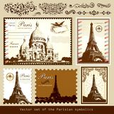 Landmarks och symboler av Paris royaltyfri illustrationer