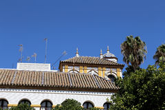 Landmarks in the old historical center of Seville (is protected by UNESCO), Andalusia, southern Spain.  Royalty Free Stock Photo