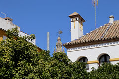Landmarks in the old historical center of Seville (is protected by UNESCO), Andalusia, southern Spain Stock Photos