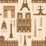 Landmarks of Paris monochrome seamless pattern Stock Photography