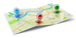 Landmarks positions, location of points of interest, travel destination, gps and navigation concept Stock Images