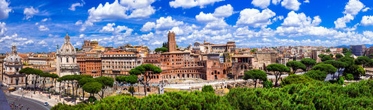 Landmarks of Rome .Panoramic view of piazza Venezia and Trajan stock image