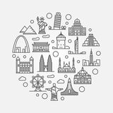 Landmarks round illustration Royalty Free Stock Photo
