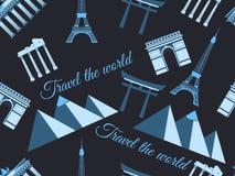 Landmarks seamless pattern seamless pattern wonders, architecture seamless pattern. Travel the world, world landmarks. Royalty Free Stock Photos