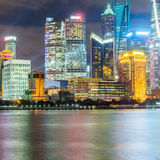 Landmarks of Shanghai with Huangpu river at night Royalty Free Stock Image
