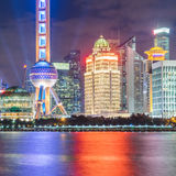 Landmarks of Shanghai with Huangpu river at night Royalty Free Stock Photos