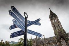 Landmarks signpost Manchester Royalty Free Stock Photo