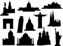 Landmarks silhouette set. Vector illustration. Stock Photo