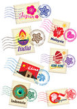 Landmarks stamps set. Asia country stamp icon set Stock Photography