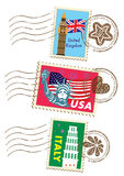 Landmarks stamps set Stock Photo
