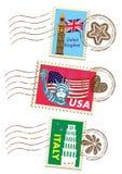 Landmarks stamps set. 3 countries Stock Photo