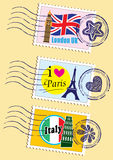 Landmarks stamps set. Country stamps icon collection (USA Royalty Free Stock Images