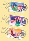 Landmarks stamps set. Country stamps icon collection (USA Royalty Free Stock Image