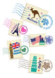 Landmarks stamps set. Variety of country Royalty Free Stock Photos