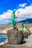Landmarks of Tenerife - Guanche kings in Candelaria village,Spain. stock photo
