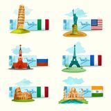 Landmarks Tickets Set Stock Photography