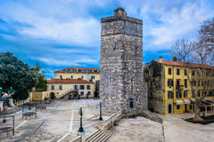 Landmarks in town Zadar, Croatia. Scenic view at old historic Captain`s Tower in city center of Zadar, Five Wells Square, Croatia Stock Images