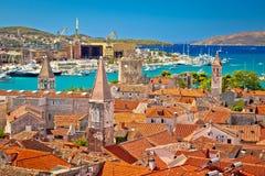 Landmarks of Trogir aerial view Stock Photos