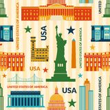 Landmarks of United States of America vector. Colorful seamless pattern Royalty Free Stock Photography