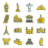 Landmarks Of The World Icons Freehand 2 Color Stock Image