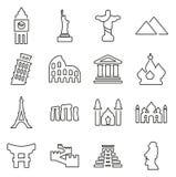 Landmarks Of The World Icons Thin Line Vector Illustration Set Stock Image