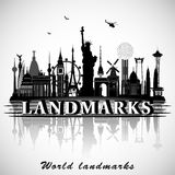 Landmarks of the World. Vector silhouettes Stock Image