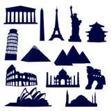 landmarksvärld royaltyfri illustrationer